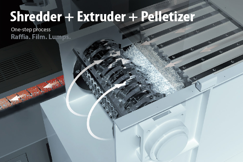 Shredder + Extruder + Pelletizer All In One Recycling Technology